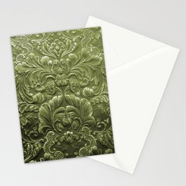 Celery Tooled Leather Stationery Cards