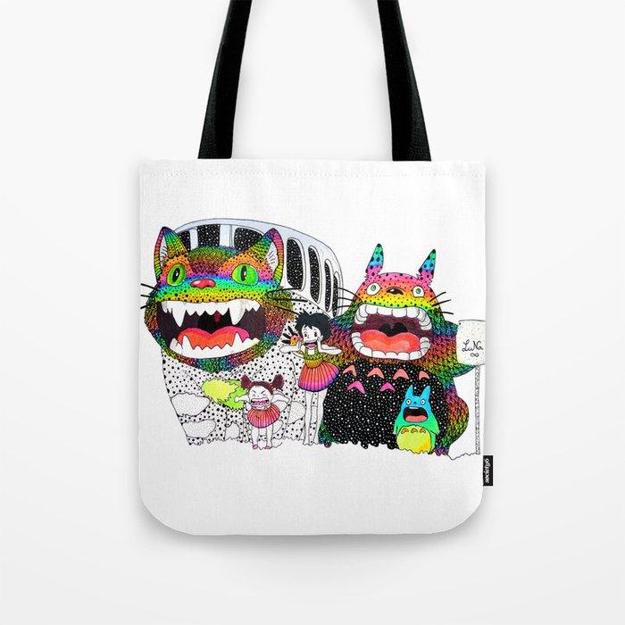 Totoro fan art (cat bus) by Luna Portnoi Tote Bag