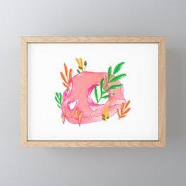 Pink Animal Skull and Foliage Framed Mini Art Print