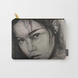 Graphic art, painting coal portrait pretty girl Carry-All Pouch