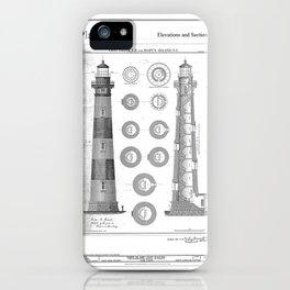 Vintage Bodie Island Lighthouse Diagram iPhone Case