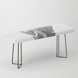 Black and white elephant illustration Bench