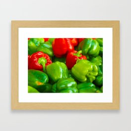 Green and Red Bell Peppers Tilt Shift Photograph Framed Art Print