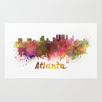 atlanta Area & Throw Rugs featuring Atlanta skyline in watercolor by Paulrommer
