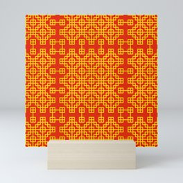 Chinese grid pattern in traditional colors Mini Art Print