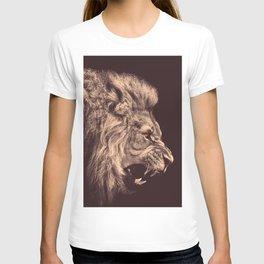 lion pencil art lion roar black and white T-shirt