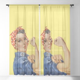 We Can Do It - Rosie the Riveter Poster Sheer Curtain