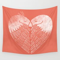 dave grohl Wall Tapestries featuring Love birds sitting on a tree by Picomodi