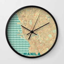 Manila Map Retro Wall Clock