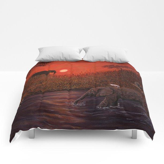 Elephants at the Waterhole Comforters