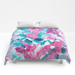 Pink turquoise modern abstract acrylic painting Comforters
