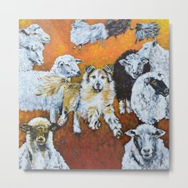 My Dog Tenni, the Border Collie and Sheep Metal Print