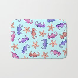 Cute Girly Watercolor Sea Horses and Starfish Summer Pattern Bath Mat