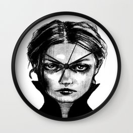Portrait of dark girl named Death - Wall Clock