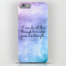 Philippians 4:13, Inspiring Bible Verse iPhone Case