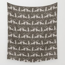 Brown and Gray Cute Stretching Cats Vector Pattern Wall Tapestry