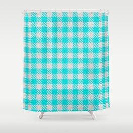Aqua or Cyan Buffalo Plaid Shower Curtain