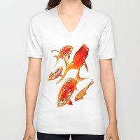 goldfish V-neck T-shirts featuring Goldfish by Regan's World