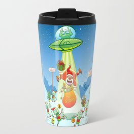 Santa Claus Abducted by a UFO just before Christmas Travel Mug