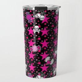 Punk Skulls n Candy Pattern Travel Mug