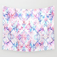 ikat Wall Tapestries featuring Ikat #5A by Schatzi Brown