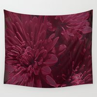 burgundy Wall Tapestries featuring Burgundy Chrysanthemums by Judy Palkimas