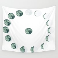 moon phases Wall Tapestries featuring Phases by Hope