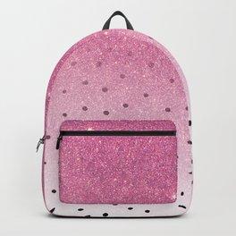 Black white polka dots pink glitter ombre Backpack