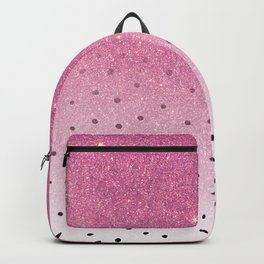 Black white polka dots pink glitter ombre Backpack