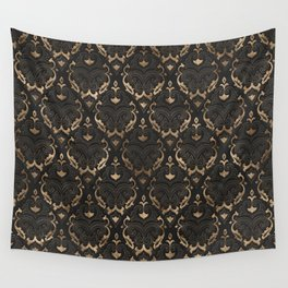 Persian Oriental Pattern - Black Leather and gold Wall Tapestry