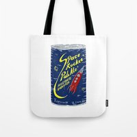ale giorgini Tote Bags featuring Space Rocket Pale Ale by Moto