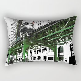 Chicago photography - Chicago EL art print in green black and white Rectangular Pillow