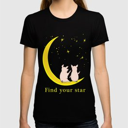 happy pair of pigs in love on the moon T-shirt