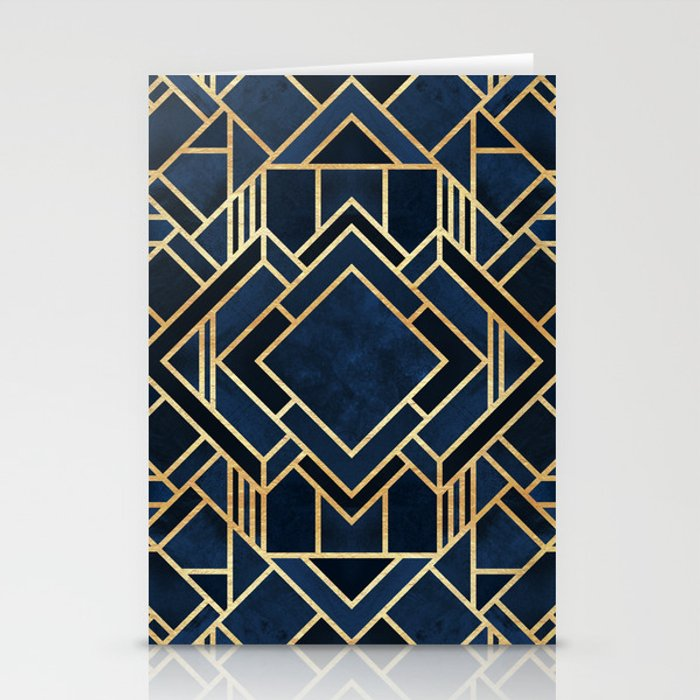 Art Deco Fancy Blue Stationery Cards