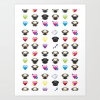 emoji Art Prints featuring Emoji Pug  by Huebucket