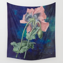 French Poppy - Vintage Botanical Illustration Collage Wall Tapestry