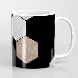 Geometric marble and rose gold on black Coffee Mug