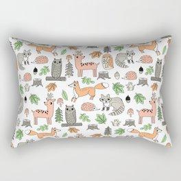 Woodland foxes rabbits deer owls forest animals cute pattern by andrea lauren Rectangular Pillow