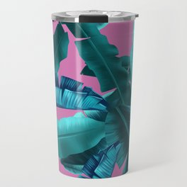 tropical banana leaves pattern pink Travel Mug