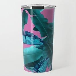 tropical banana leaves pattern pink Travel Mug