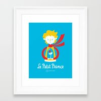 le petit prince Framed Art Prints featuring Le Petit Prince by Andrea Tobar