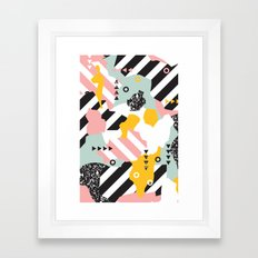 Spliced Geometric Memphis Pattern Geo Stripes Framed Art Print