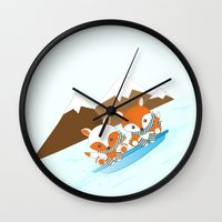 skiing Wall Clocks featuring Skiing by HK Chik