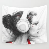 headphones Wall Tapestries featuring I Love Music | Girl in Headphones by Olechka