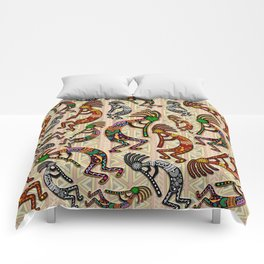 Kokopelli Rainbow Colors on Tribal Pattern  Comforters
