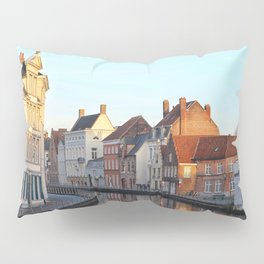 Belgium, City Canal 4 Pillow Sham