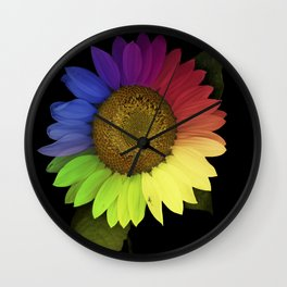 Rainbow Sunflower Scanography Wall Clock