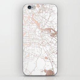 Amsterdam White on Rosegold Street Map iPhone Skin