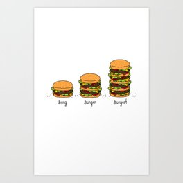 Burger explained. Burg. Burger. Burgest. Art Print