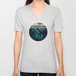Moonlit Whales Unisex V-Neck